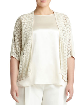 Medallion-Lace Knit Cardigan, Raffia, Women's