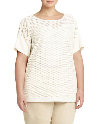 Camira Open-Weave Top, Ivory, Women's