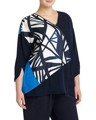 Lourdes Graphic Silk Blouse, Ink/Multicolor, Women's