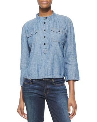 Shrunken Denim 3/4-Sleeve Shirt
