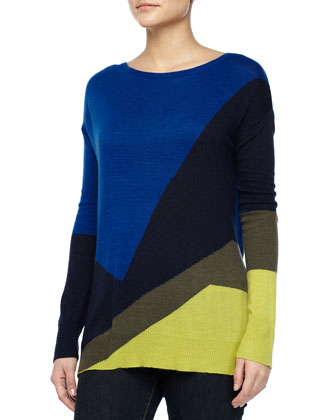 Long-Sleeve Colorblock Sweater, Sapphire/Navy/Green