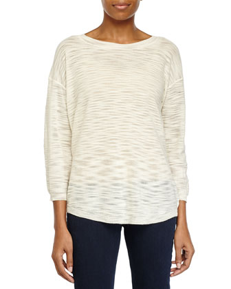 Three-Quarter-Sleeve Sheer Sweater, Bone