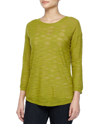 Three-Quarter-Sleeve Sheer Sweater, Apple Green