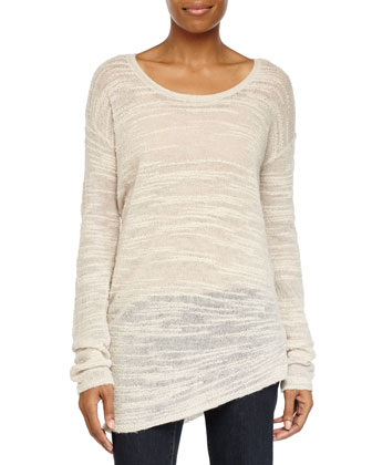 Long-Sleeve Asymmetric Sweater, Cream
