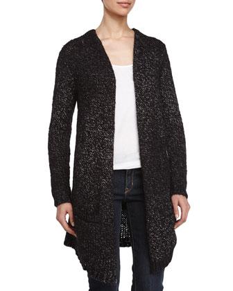 Long Open Blanket Sweater, Black/Charcoal
