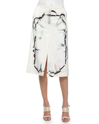 Feather-Scarf-Print Midi Skirt W/ Front Slit