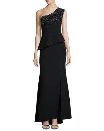 One-Shoulder Beaded Peplum Gown