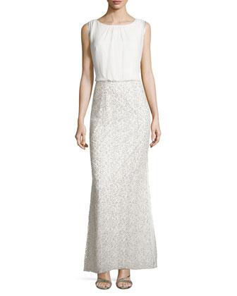 Blouson Lace Gown, Ivory