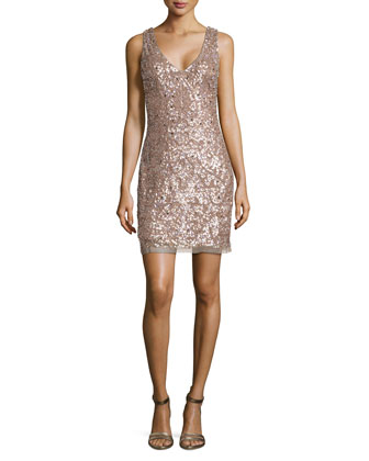 Beaded Sheath Dress, Rose Gold