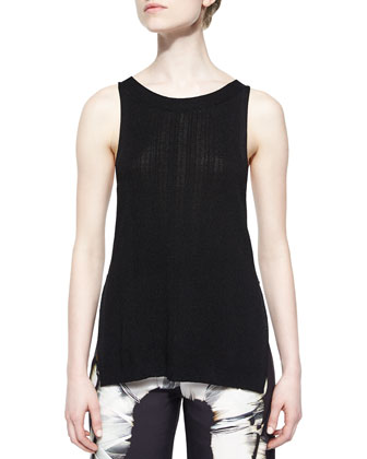 Sleeveless Sweater Tank W/ Slits