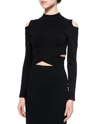 Crossover Mock-Neck Top & Stretch-Knit Pencil Skirt