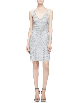 Sleeveless Beaded-Pattern Cocktail Dress