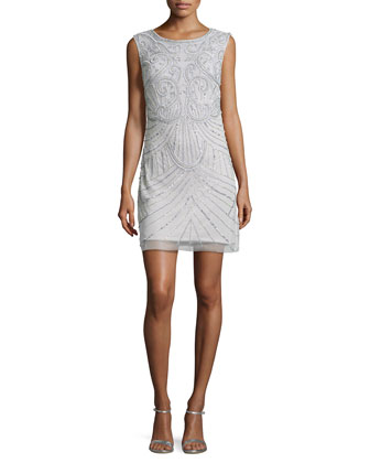 Beaded Sheath Cocktail Dress, Silver