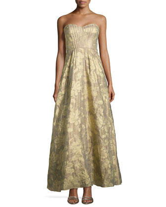 Strapless Metallic Gown with Sweetheart Neckline