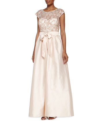 Illusion Neckline Ball Gown with Beaded Bodice, Blush