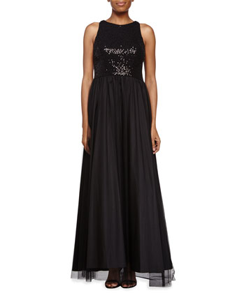 Jewel Neckline Gown with Beaded Bodice