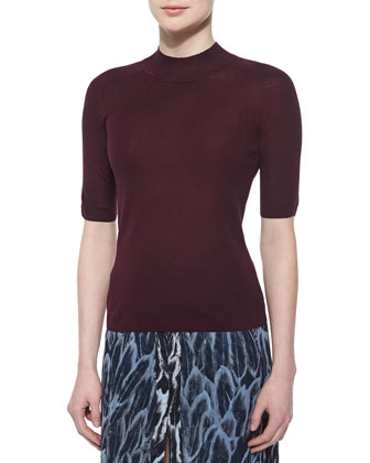 Mock-Neck Half-Sleeve Sweater