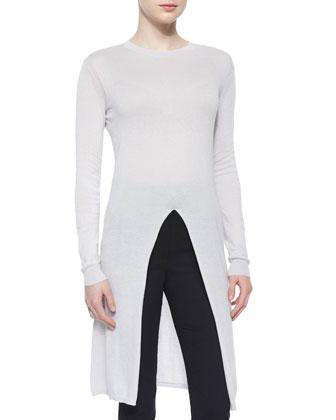 Long-Sleeve Slit-Center Sweater & Stud-High-Waist Slim Pants