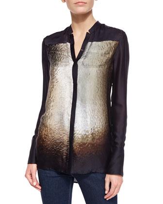 Long-Sleeve Scarf-Print Silk Shirt