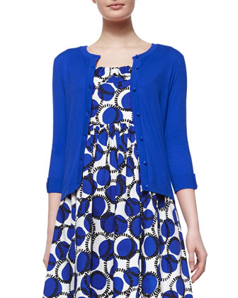 somerset button-front cardigan & sleeveless ruched empire-waist printed dress