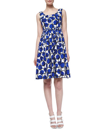 sleeveless ruched empire-waist printed dress