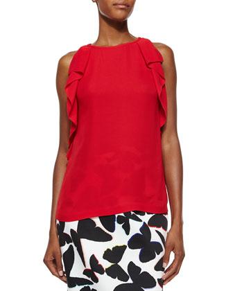 sleeveless ruffle-sleeve crepe top & butterfly-print midi pencil skirt
