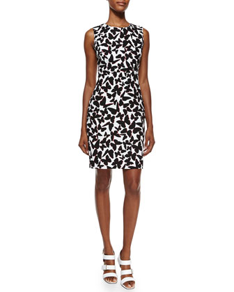 sleeveless butterfly-print sheath dress