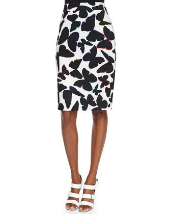 butterfly-print midi pencil skirt