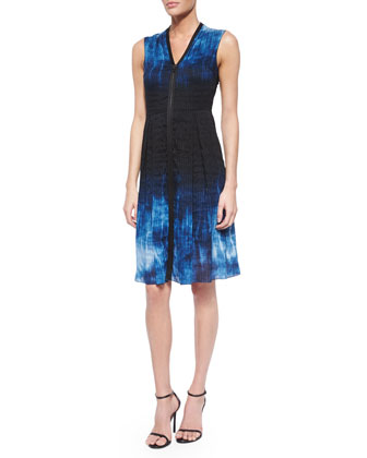 Emma Short-Sleeve Marble-Print Sheath Dress