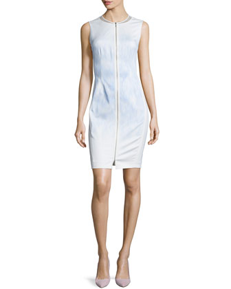 Mila Sleeveless Zip-Front Sheath Dress