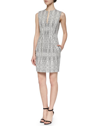June Split-Neck Sheath Dress