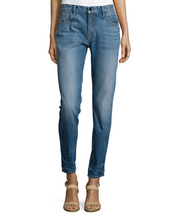 Medium-Wash Straight-Leg Jeans, Light Indigo Aged