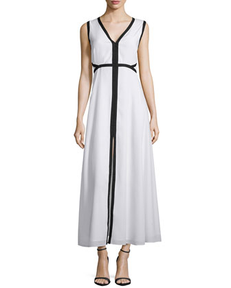 Sleeveless A-Line Maxi Dress W/ Trim