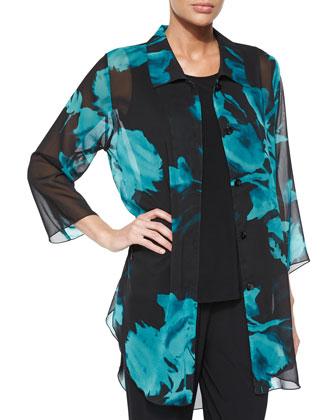 Midnight Blossoms Chiffon Long Blouse, Long Tank & Stretch-Knit Slim Pants, ...