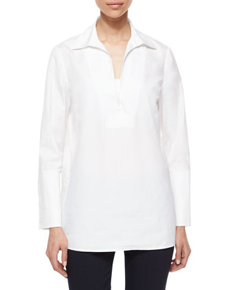 Long-Sleeve Cotton Tunic Blouse