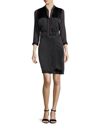 Colorblock Neck-Tie Dress, Charcoal/Black