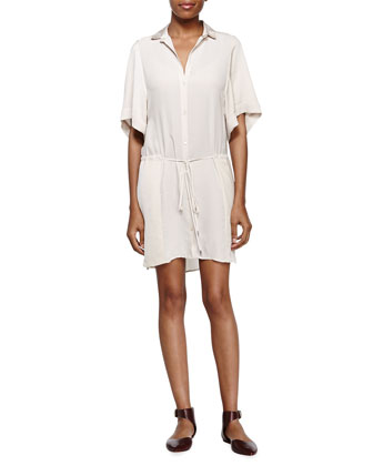 Casual Belted Shift Dress, Shell