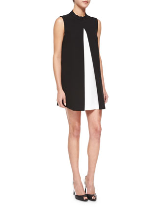 Maisie Pleated Colorblock Shift Dress, Black/White