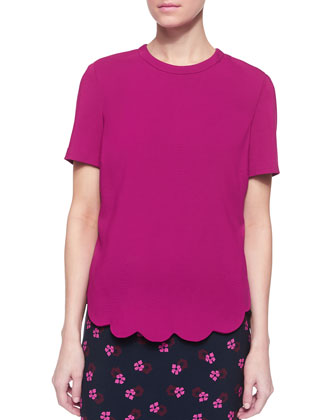 Short-Sleeve Scalloped-Hem Top