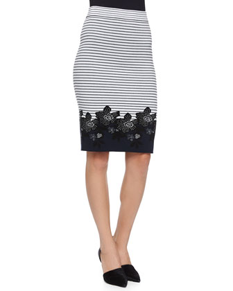 Brennan Striped Floral Pencil Skirt