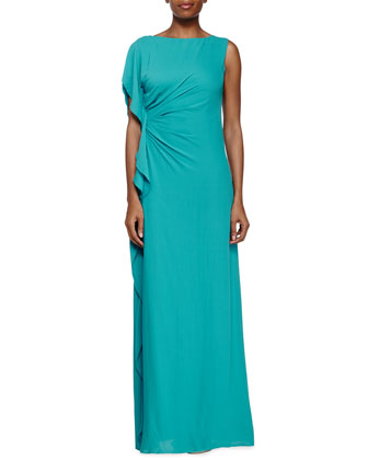One-Shoulder Waterfall Gown, Caribbean