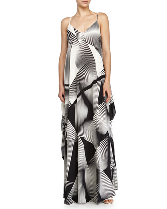 Sleeveless Printed Evening Gown, Black/Chalk