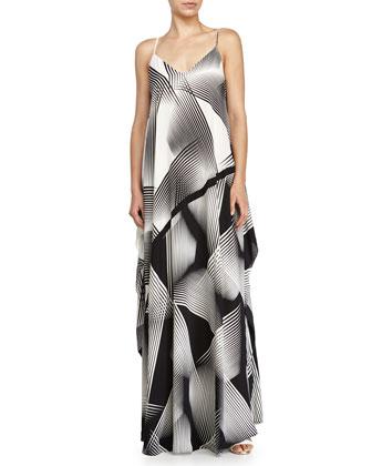 Sleeveless Printed Evening Gown, Black/Chalk
