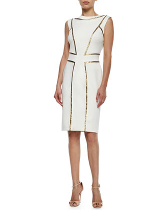 Sleeveless Sequin-Seamed Cocktail Sheath Dress, Snow/Gold