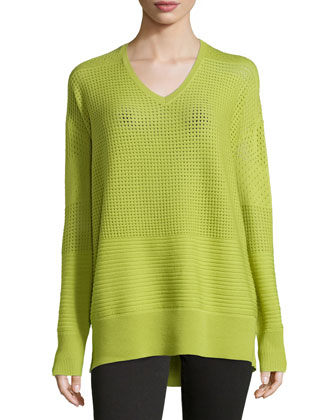 Long-Sleeve Sheer Sweater, Apple Green