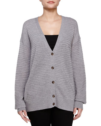 Textured Button-Up Cardigan, Heather Gray