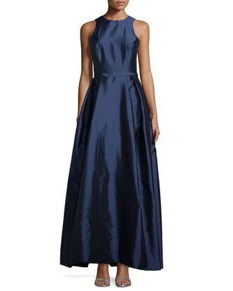Sleeveless Crisscross-Back Gown, Navy