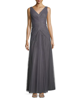 Sleeveless V-Neck Ruched-Bodice Tulle Gown
