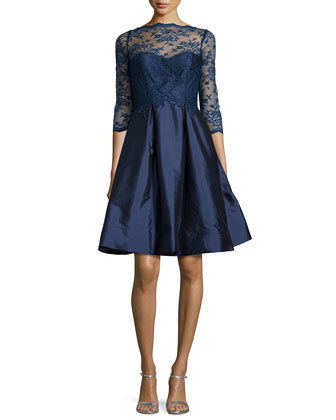3/4-Sleeve Lace-Bodice Full-Skirt Short Dress, Navy