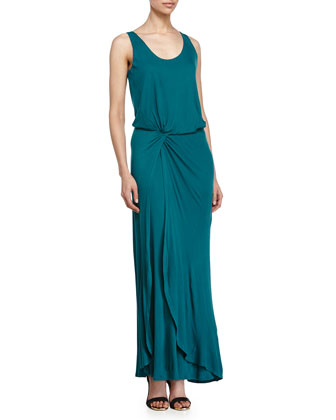 Knotted-Waist Evening Gown, Dark Emerald